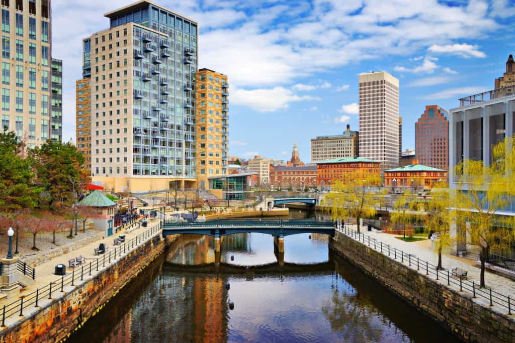 Woonasquatucket River passing through downtown Providence, RI