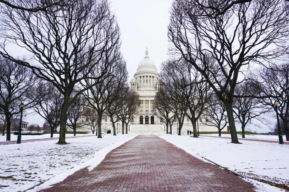 Rhode,Island,State,House,In,Winter